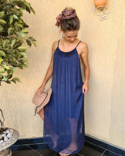 Load image into Gallery viewer, Fairy Silk Maxi Dress (Navy Blue)