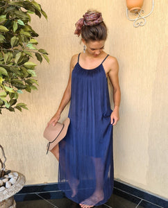 Fairy Silk Maxi Dress (Navy Blue)