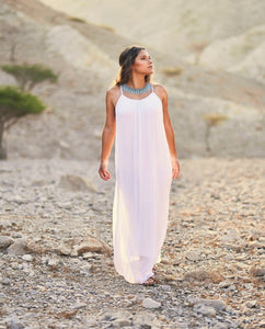 Fairy Silk Maxi Dress (White)