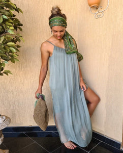 Fairy Silk Maxi Dress (Khaki)