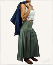 Load image into Gallery viewer, Summer Silk Maxi Skirt (Khaki) - WillowTribe