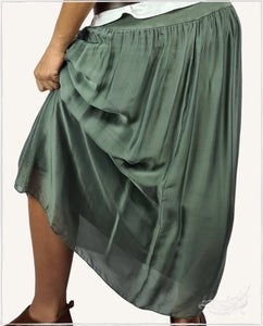 Summer Silk Maxi Skirt (Khaki) - WillowTribe