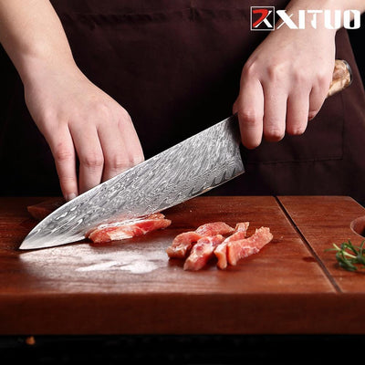 XITUO Kitchen Knives Set Damascus Steel VG10 Chef Knife Cleaver Paring Bread Knife Blue Resin and Color Wood Handle Cooking Tool|Kitchen Knives|Home & Garden