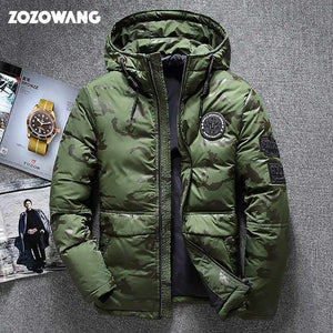 Open image in slideshow, ZOZOWANG High quality men's winter jacket thick snow parka overcoat white duck down jacket men wind breaker down coat size 4XL