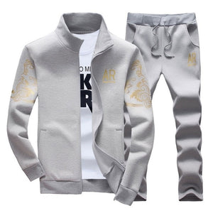 Men's Sportswear Sets 2019 Spring Autumn Male Casual Tracksuit Men 2 Piece Zipper Sweatshirt + Sweatpants Brand Track Suit Set