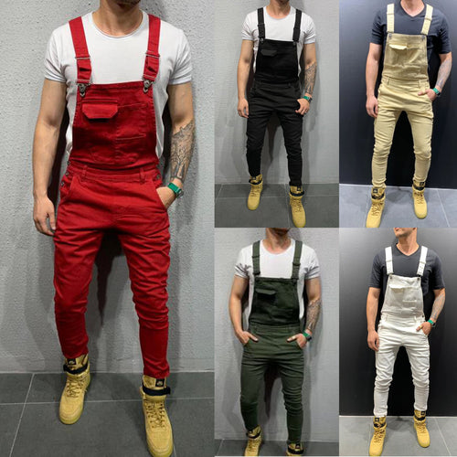 Color: Black White Green Red Khaki 2019 New Denim Bib Korean Slim Men's Trousers Men's Pants Size S-XXXL