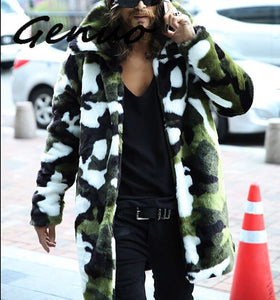 2019 New fashion Men's Faux fur coat  Camouflage warm rabbit warm jacket mens winter leather jackets Lapel outdoors windbreaker