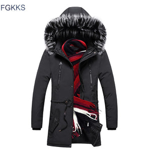 FGKKS Men High Quality Fashion Parkas Winter Male New Arrival Warm Fashion Parka Coats Men's Casual Jacket Hooded Parkas