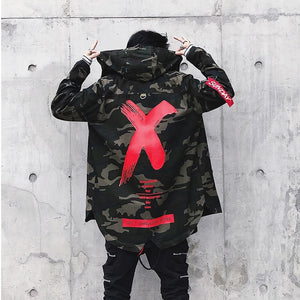 Men camouflage Jacket High Street Ribbon Patchwork Cotton Men X Print Bomber Coat Autumn Harajuku Pilot Flight Jacket Streetwear
