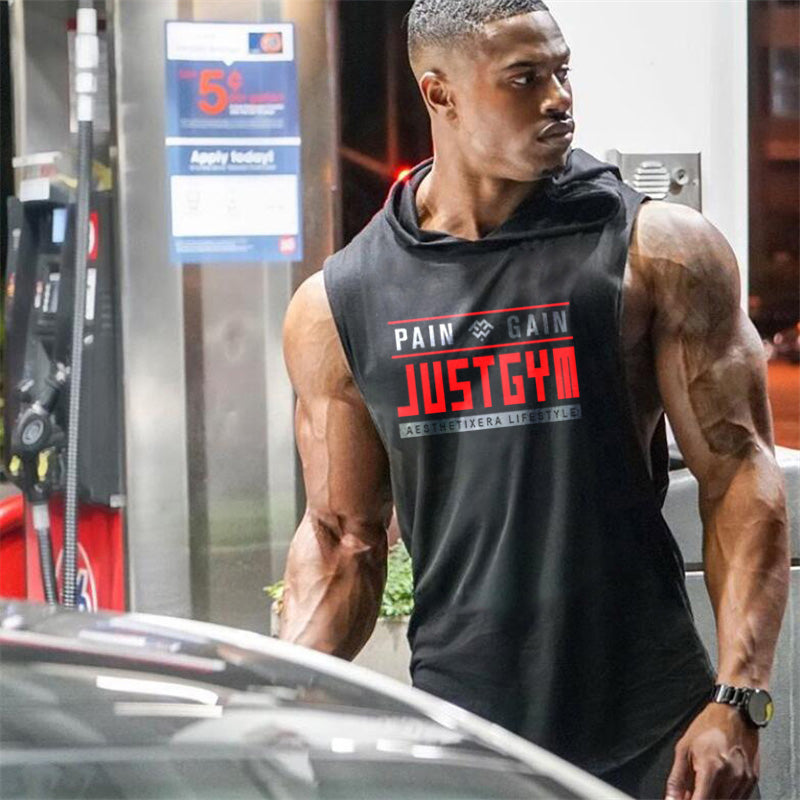 Muscleguys Brand Clothing Gym Hooded Tank Top Men Bodybuilding Stringer Hoodie Tanktop Workout Singlet Fitness Sleeveless Shirt