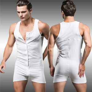 New Men's Playsuit Sexy Home Sports Breathable Cotton Union Suit Underwear Short Sleeve One-piece Bodysuit Short Jumpsuit