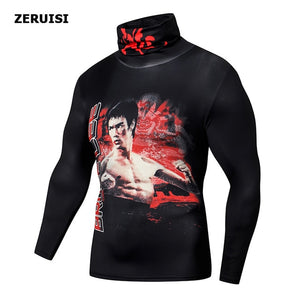 Open image in slideshow, High Collar With Mask t shirt Streetwear Gym Men Casual 3D T shirt Fitness Compression shirts Lapel Underwear Thermal Male Tops