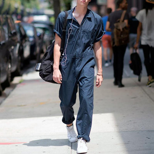 INCERUN Fashion Men Solid Short Sleeve Lapel Shirt Jumpsuit Comfort Cargo Overalls Casual Joker Zipper Mens Rompers Streetwear