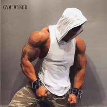 Load image into Gallery viewer, Gym winer Brand clothing Bodybuilding hoodie Shirt Fitness Men Tank Top Muscle Vest Stringer Undershirt Hooded vest TankTop