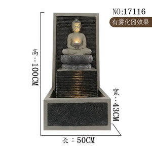 Water Fountain Fountain Curtain Wall Decoration Southeast Asia Home Decoration Buddha Statue Decoration Home Accessories