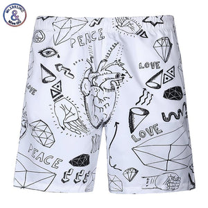 Mr.1991INC New Fashion men's brand shorts 3d digital print hip hop beach shorts elastic waist short pants