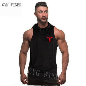 New Men Bodybuilding Tank Tops Gyms Fitness Workout Sleeveless Hoodies Man Casual Camouflage Hooded Vest Male Camo Clothing