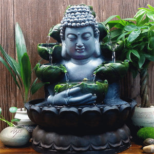 Creative Home Decorations Resin Flowing Water Waterfall Led Fountain Buddha Statue Lucky Feng Shui Ornaments Landscape Decor