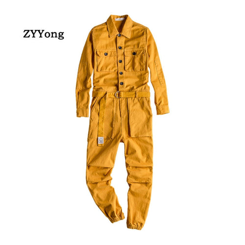 Men's Jumpsuit Lapel Long Sleeve Multi-Pocket Ankle Length Beam Feet Overalls Fashion Black Yellow Freight Trousers  Cargo Pants