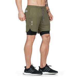 Open image in slideshow, 2020 Men Summer Double-deck Pants Skinny Fitness Body Running Shorts Male Workout Breathable Quick Drying Sportswear Jogging Gym
