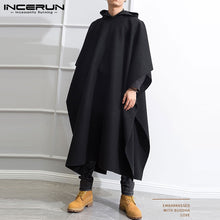 Fashion Men Long Cloak Coats Hooded Cape Solid Color Loose 2020 Streetwear Punk Windproof Men's Trench Winter Poncho INCERUN 7