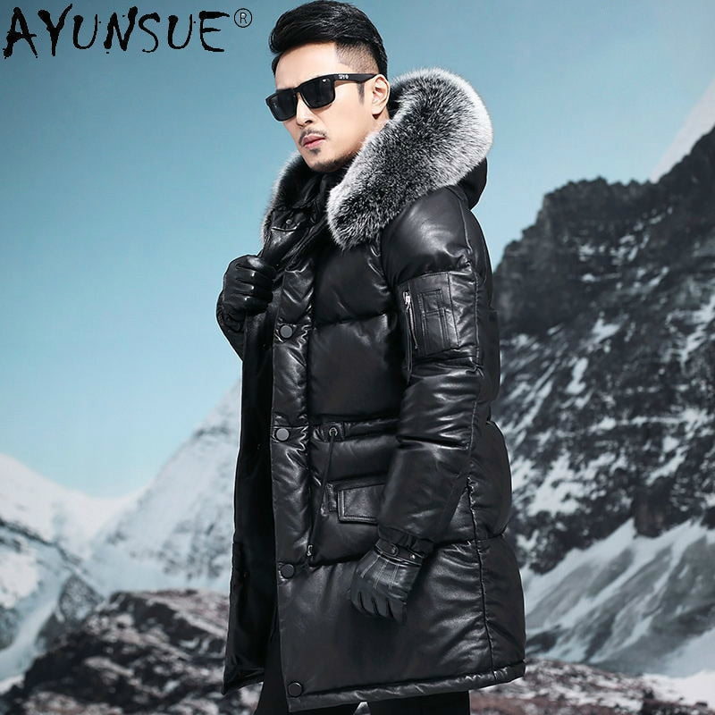 AYUNSUE Thick Parka Genuine Cowhide Leather Jacket Men Down Jackets Man 5XL Erkekler Parkas Real Fox Fur Collar Coat Ropa LXR826