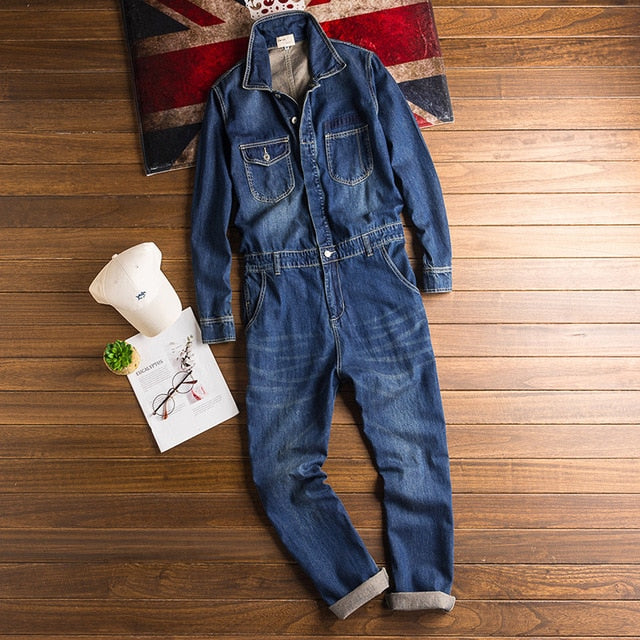 Spring And Autumn Men's Denim Jumpsuits Long Sleeve Lapel Overalls Blue Jeans Hip Hop Cargo Pants Fashion Freight Trousers