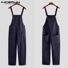 2021 Men Bib Pants Solid Color Casual Jumpsuits Streetwear Joggers Multi Pockets Fashion Suspenders Men Cargo Overalls INCERUN 7