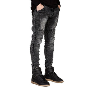 Open image in slideshow, Men Jeans Runway Slim Racer Biker Jeans Fashion Hiphop Skinny Jeans