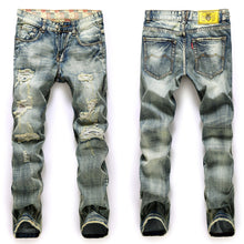 Men Ripped Hole Jeans Pants Casual Fashion Slim Straight Denim Trousers Men Famous Men Jeans 01Z953