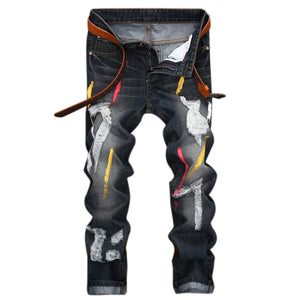 Open image in slideshow, Personality Badge Patchwork Jeans Men Ripped Jeans Fashion Brand Scratched Biker Jeans Hole Denim Straight Slim Fit Casual LY165