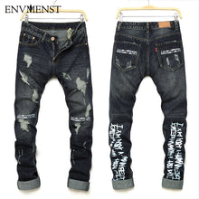 Envmenst 2017 Summer New Fashion Designer Letter Printed Men's Biker Jeans Casual Street Hip Hop Style Ripped Denim Pencil Pants