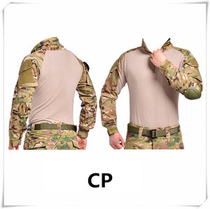 Camouflage military uniform us army combat shirt cargo multicam Airsoft paintball militar tactical clothing with knee pads