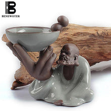BENEWOTER Cerative Boutique Tea Accessories Filter Tea Strainer Ceramic Porcelain Ice Crackle Kiln Zen Old Man Tea Pet Ornament