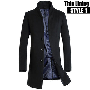New Thicken Winter Wool Coat Men Thick Woolen Overcoat Mens Casual Fashion Cotton Padded Jacket And Coats Long Jackets Outerwear