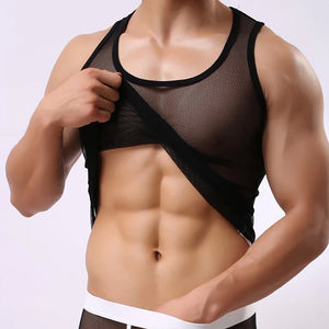 Open image in slideshow, Men Ice Silk Perspective Sleeveless Tank Top Casual Gym Muscle Vest BK/L