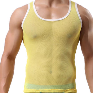 Men Ice Silk Perspective Sleeveless Tank Top Casual Gym Muscle Vest BK/L