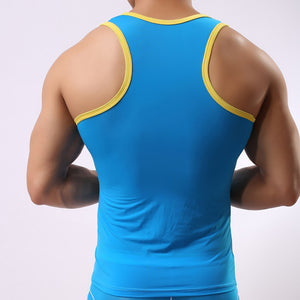Men Ice Silk Sleeveless Silky Tank Top Casual Gym Muscle Vest BK L