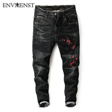 Envmenst 2017 autumn new Jeans Men Hombre cotton Flower embroidery slim fit distressed men's denim pencil pants Street Wear Men