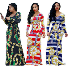 New Fashion Summer Long Dress Casual Long Sleeve Bodycon Dashiki Dress Women Elegant Vintage Print African Dresses