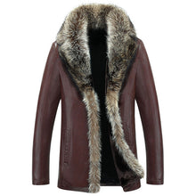 High Quality Winter Warm Overcoat Male Faux Leather Jacket Men Raccoon Fur Collar Coats Plus Size 5XL Jaqueta Couro Masculina