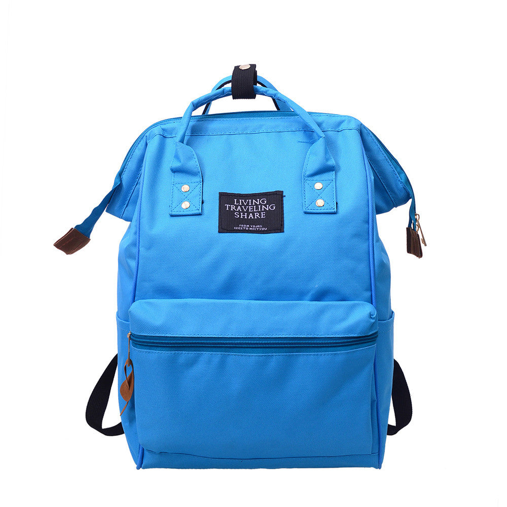 Unisex Solid Backpack School Travel Bag Double Shoulder Bag Zipper Bag