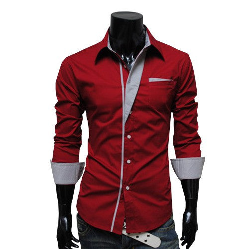 Bursts of British Sundries Trendy Shirt Hit Color Men Long-sleeved Shirt