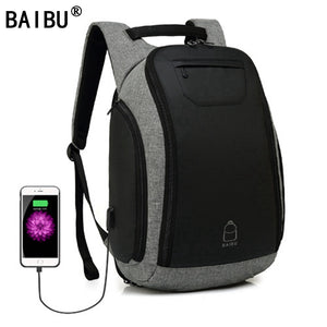 BAIBU Multifunction USB charging Men 15inch Laptop Backpacks For Teenager Fashion Mochila Leisure Travel backpack anti thief