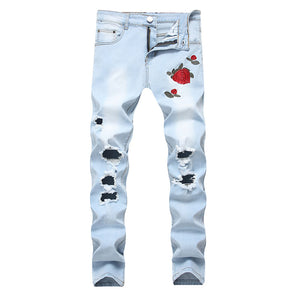 Envmenst New Men Ripped Jeans With Embroidery Flowers Rose Embroidered Men's Stretch Skinny Blue Black Hole Denim Plus Pants