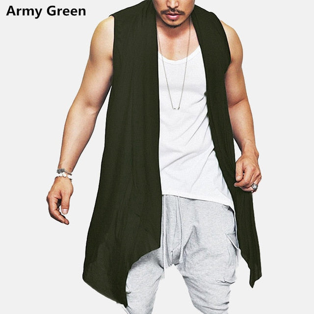 New Summer Men's Vest Long Style Vest Jacket Punk Gothic Sleeveless Shawl Waistcoat Cardigan Coat  Irregular Hem Hip Hop Clothes