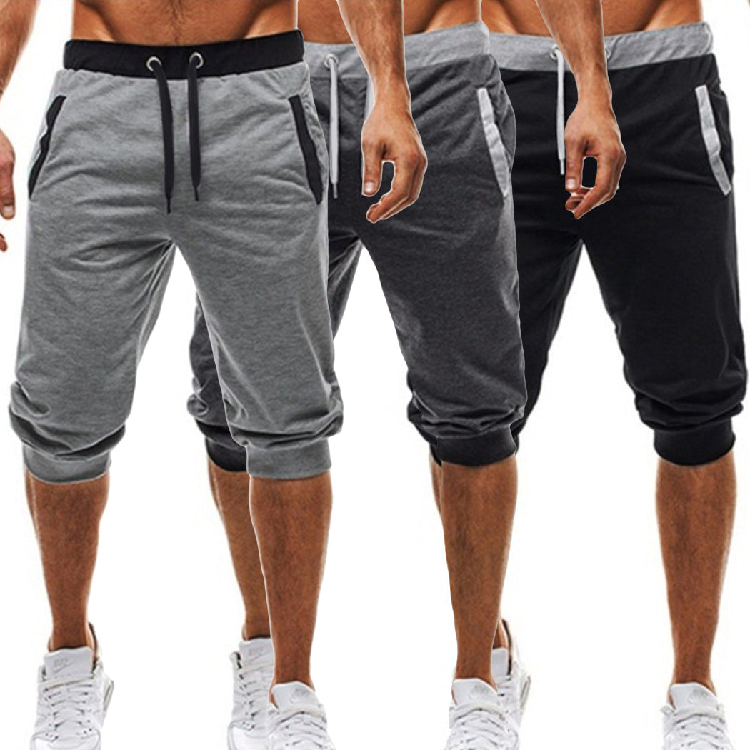 Fashion Men Breathable Baggy Jogger Slim Harem Half Short Slacks Casual Soft Cotton Summer Loose Workout Trousers Shorts Elastic