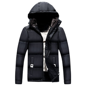 Men's Winter Thicken Coat Quilted Jacket Casual Outwear with Removable Hood