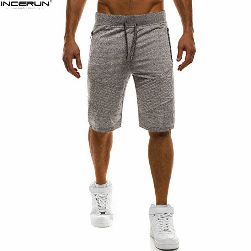 INCERUN Mens Shorts Joggers Pants Men Pleated Sweatpants Workourt Slim Short Masculino Ripped Hip Hop Short Pants Men Streetwear