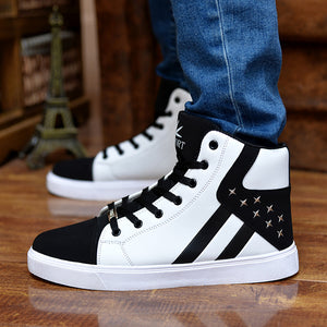 Men running shoes Trend high top ankle sneakers leather zapatillas deportivas hombre runners flat Athletic walking shoes